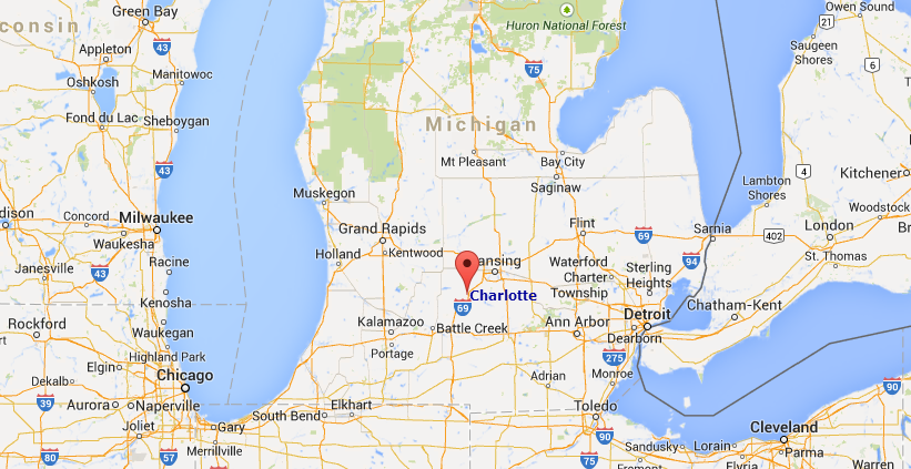 Where Is Charlotte Michigan On A Map Michigan Map - Charlotte us map