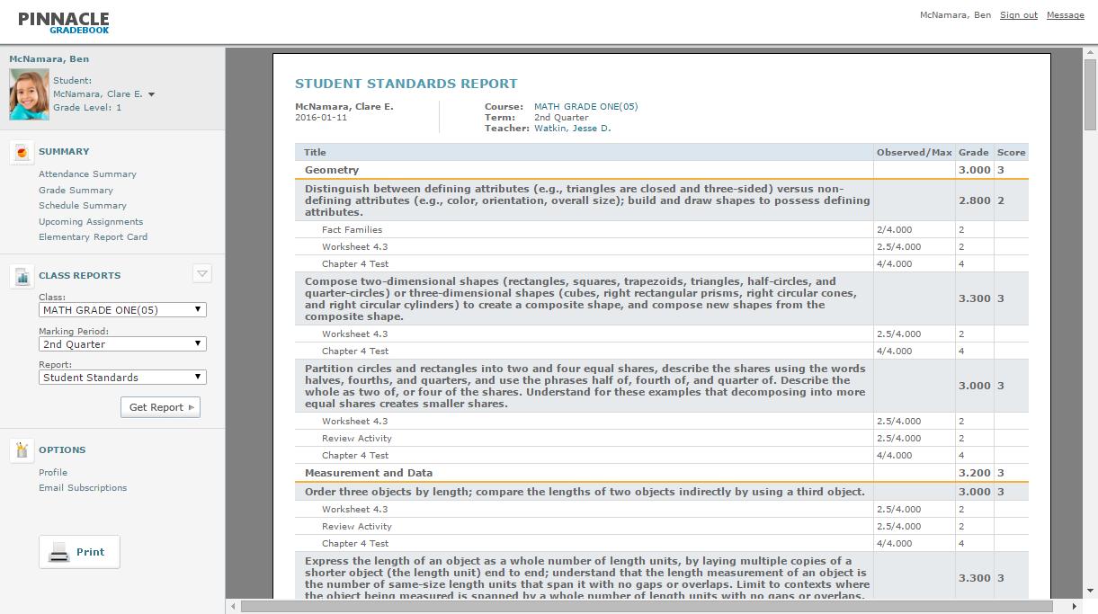 Student Standards Report